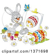 Clipart Of A Cartoon Gray Bunny Rabbit Painting A Canvas And Easter Egg A Butterfly Flying Above Royalty Free Vector Illustration by Alex Bannykh