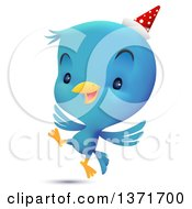 Clipart Of A Cute Blue Bird Wearing A Party Hat And Dancing Royalty Free Vector Illustration