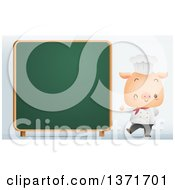 Clipart Of A Cute Chef Pig Giving A Thumb Up And Winking By A Chalk Board Royalty Free Vector Illustration