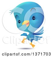 Clipart Of A Cute Blue Bird Dancing Royalty Free Vector Illustration