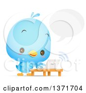 Clipart Of A Cute Blue Bird Talking And Using A Laptop Royalty Free Vector Illustration