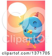 Clipart Of A Cute Blue Bird Talking Wearing A Party Hat And Dancing Royalty Free Vector Illustration by Qiun