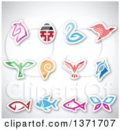 Clipart Of Colorful Sticker Styled Horse Bird Ram Ladybug Butterfly And Fish Icons With Shadows On Gray Royalty Free Vector Illustration by cidepix