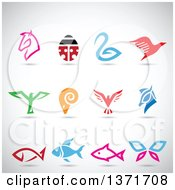 Clipart Of Colorful Horse Bird Ram Ladybug Butterfly And Fish Icons With Shadows On Gray Royalty Free Vector Illustration by cidepix