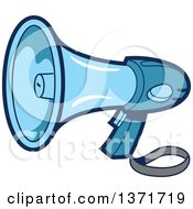 Clipart Of A Blue Megaphone Bullhorn Royalty Free Vector Illustration