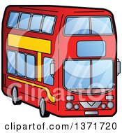 Clipart Of A Double Decker Bus Royalty Free Vector Illustration by Clip Art Mascots