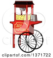 Clipart Of A Wheeled Popcorn Machine Stand Royalty Free Vector Illustration