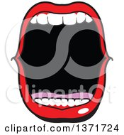 Clipart Of A Mouth Open Wide And Shouting Royalty Free Vector Illustration