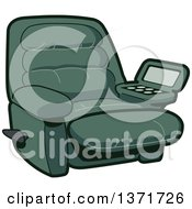 Clipart Of A Green Reclining Chair With A Built In Drink Holder Royalty Free Vector Illustration