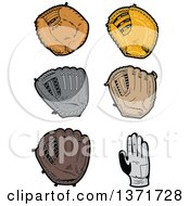 Clipart Of Baseball Gloves Royalty Free Vector Illustration by Clip Art Mascots