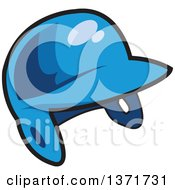 Clipart Of A Blue Baseball Batters Helmet Royalty Free Vector Illustration by Clip Art Mascots