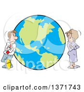 Cartoon White Business Man And Woman Or Couple Standing Worlds Apart On Opposite Ends Of The Globe