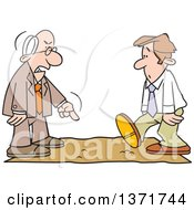 Clipart Of A Cartoon White Business Man Being Called On The Carpet By His Boss Royalty Free Vector Illustration by Johnny Sajem