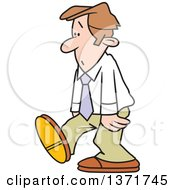 Clipart Of A Cartoon Dejected White Business Man Walking Royalty Free Vector Illustration