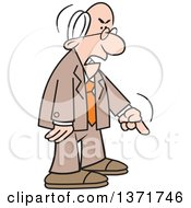 Clipart Of A Cartoon Angry Old White Business Man Demanding And Pointing Royalty Free Vector Illustration