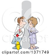Clipart Of A Cartoon Angry White Business Man At Woman At Odds Leaning Against A Pole With Folded Arms Royalty Free Vector Illustration by Johnny Sajem