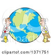 Clipart Of Cartoon White Business Men Leaning On Different Sides Of A Globe A World Apart Royalty Free Vector Illustration