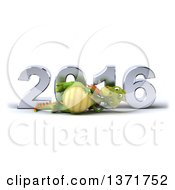 Clipart Of A 3d Green Dragon Resting On His Side In Front Of A Chrome New Year 2016 On A White Background Royalty Free Illustration by Julos