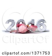 Clipart Of A 3d Pink Dragon Resting On His Side In Front Of A Chrome New Year 2016 On A White Background Royalty Free Illustration by Julos