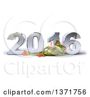 Clipart Of A 3d Green Springer Frog Giving A Thumb Up And Resting On His Side In Front Of A Chrome New Year 2016 On A White Background Royalty Free Illustration