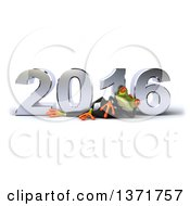 Clipart Of A 3d Green Business Springer Frog Resting On His Side In Front Of A Chrome New Year 2016 On A White Background Royalty Free Illustration