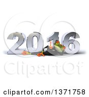 Clipart Of A 3d Green Business Springer Frog Giving A Thumb Up And Resting On His Side In Front Of A Chrome New Year 2016 On A White Background Royalty Free Illustration