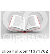 Clipart Of A 3d Open Text Book Over Reflective Gray Royalty Free Illustration