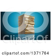 Clipart Of A 3d Stack Of Gold Books Over Reflective Blue Royalty Free Illustration