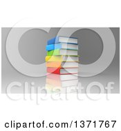 Clipart Of A 3d Stack Of Books Over Reflective Gray Royalty Free Illustration