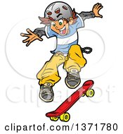 White Teen Skater Boy Jumping