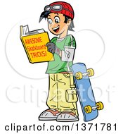 Happy Teenage Asian Boy Reading A Book About Skateboarding Tricks