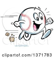 Clipart Of A Happy Energetic Baseball Character Running Royalty Free Vector Illustration
