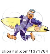 Buff Surfer Dude Running In A Wetsuit Carrying His Board