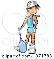 Clipart Of A Blond White Girl Posing With A Tennis Racket Royalty Free Vector Illustration