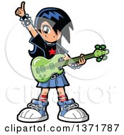 Clipart Of A Manga Girl Holding An Electric Guitar Royalty Free Vector Illustration by Clip Art Mascots