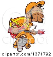 Clipart Of A Groovy Black Male Bass Player Royalty Free Vector Illustration by Clip Art Mascots