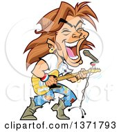 Clipart Of A White Male Rock Star Singing And Playing A Guitar Royalty Free Vector Illustration