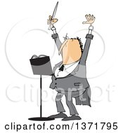Clipart Of A Cartoon Chubby White Male Music Conductor Holding Up An Arm And Wand Royalty Free Vector Illustration