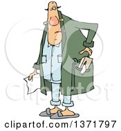 Cartoon Chubby Sick White Man With A Tissue Box In His Robe Pocket