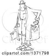Cartoon Black And White Chubby Sick Man With A Tissue Box In His Robe Pocket