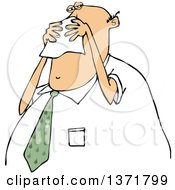 Cartoon Chubby White Business Man Blowing His Nose Into A Tissue