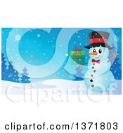 Clipart Of A Christmas Snowman Holding A Gift In A Winter Landscape Royalty Free Vector Illustration