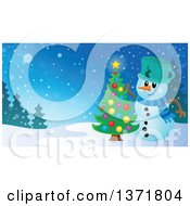 Clipart Of A Christmas Snowman Decorating A Tree In A Winter Landscape Royalty Free Vector Illustration