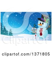 Clipart Of A Christmas Snowman Holding A Candy Cane In A Winter Landscape Royalty Free Vector Illustration