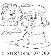 Clipart Of A Black And White Christmas Snowman Melting Under The Shining Sun Royalty Free Vector Illustration