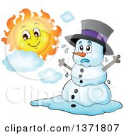 Clipart Of A Christmas Snowman Melting Under The Shining Sun Royalty Free Vector Illustration