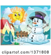 Clipart Of A Christmas Snowman Melting Under The Shining Sun In A Yard Royalty Free Vector Illustration