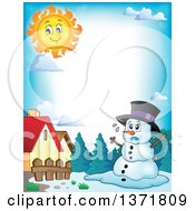 Clipart Of A Border Of A Christmas Snowman Melting Under The Shining Sun Royalty Free Vector Illustration