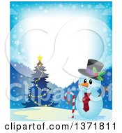 Clipart Of A Christmas Snowman Holding A Candy Cane By A Tree In A Winter Landscape Royalty Free Vector Illustration