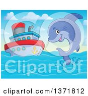 Clipart Of A Cute Dolphin Leaping Out Of Water Near A Boat Royalty Free Vector Illustration by visekart